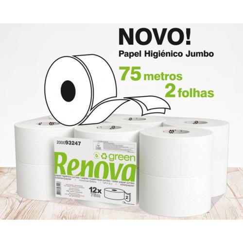 RENOVA JUMBO 75 METROS ROLOS PAPEL HIGIÉNICO