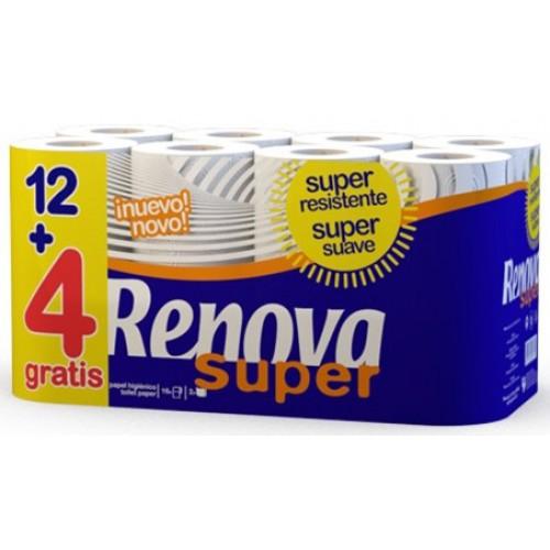 RENOVA 12 + 4 GRATIS ROLOS PAPEL HIGIENICO SUPER